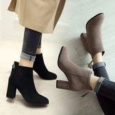 歐洲站新品秋冬韓版高跟靴女韓版真皮短靴女靴馬丁靴棉靴小碼單層