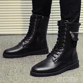 馬丁靴男加絨保暖冬季棉靴高筒黑色軍靴百搭男士皮靴工裝中靴子潮 依凡卡時尚