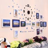 客廳掛鐘時鐘現代簡約創意個性牆上相框裝飾壁鐘掛表家用石英鐘表WY 尾牙 限時鉅惠