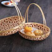 手工竹編圓形花型編織提籃 水果籃