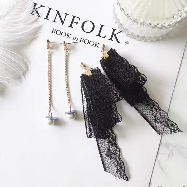 耳環 日韓系設計款性感甜美多層次蕾絲珍珠鍊條垂墜式耳環【1DDE0128】