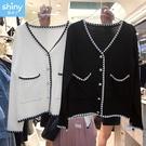 【V3187】shiny藍格子-小香風.黑白撞色針織外套