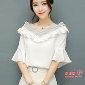 雪紡衫 2020夏季新款喇叭短袖花邊雪紡襯衫女韓版顯瘦甜美上衣襯衣