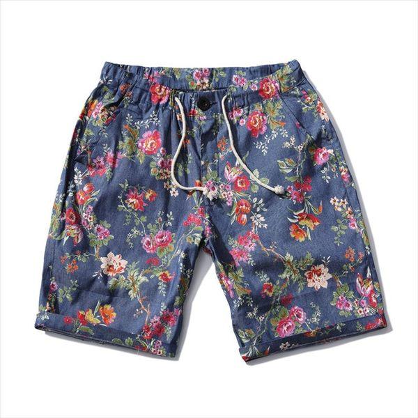 找到自己 MD 日系 時尚 潮 男 藍色碎花 五分褲 休閒短褲 海灘短褲