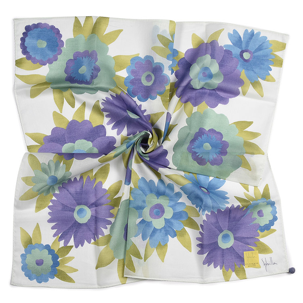 Sybilla大花花朵圖案純綿帕領巾(紫藍色)989164-98