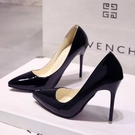 高跟鞋 高跟鞋女2021年新款春款百搭漆皮防水臺10cm細跟性感尖頭單鞋 歐歐