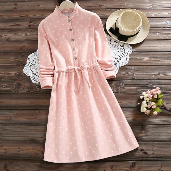 *ORead*森女立領印花加絨加厚文藝收腰連身裙(粉色S~2XL)