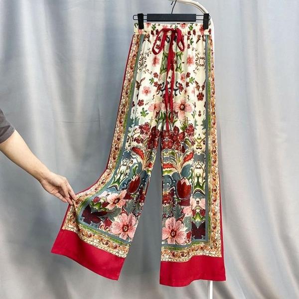 民族風寬管褲泰國波西米亞雪紡褲子女寬鬆顯瘦沙灘褲度假長褲花褲 黛尼時尚精品