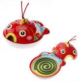 紅色金魚 陶瓷蚊香薰香器 可放蚊香薰香安全衛生美觀 日本藥師窯出品 日本帶回