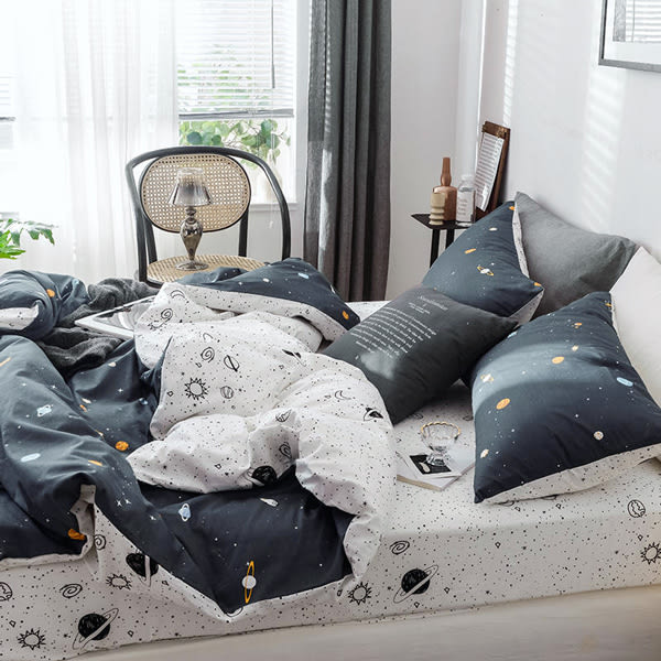 LOFT DAY精梳純棉床包被套組-加大-小宇宙【BUNNY LIFE 邦妮生活館】