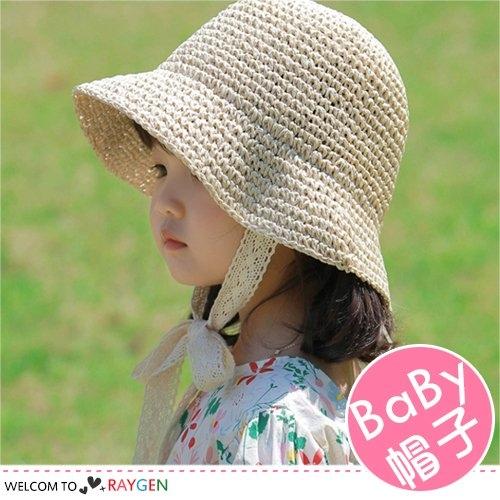 夏季兒童蕾絲綁帶草帽 遮陽帽 漁夫帽