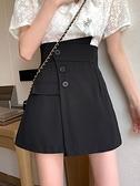 褲裙 2021春季高腰顯瘦百搭A字短裙不規則闊腿褲裙半身裙女裝白色裙子 韓國時尚週