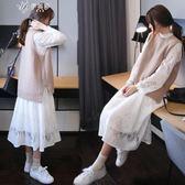 毛衣套裝裙女兩件套秋冬文藝長袖蕾絲中長款針織馬甲外套潮伊芙莎