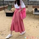 傘裙粉色裙子2021新款韓版百搭顯瘦高腰中長款工裝a字半身裙女夏傘裙 愛丫