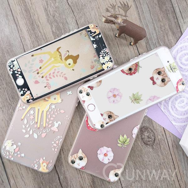 【R】貓咪 小鹿 光油浮雕 殼+膜套組 蘋果 iPhone 8 plus 軟邊鋼化膜 全包邊軟殼