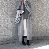 梨卡 - 秋冬氣質甜美慵懶感寬鬆超長版針織夾克風衣外套BR154