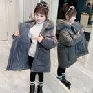 中大童韓版羽絨外套 大毛領時尚潮流女寶寶夾克 中長款派克服女童外套 女兒童保暖甜美可愛外套