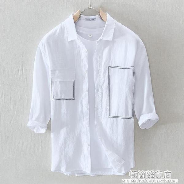 夏天新款亞麻七分袖襯衫男口袋裝飾棉麻中袖半袖襯衣寬松麻料上衣 極簡雜貨