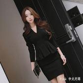 中大尺碼長袖OL洋裝 秋裝職業套裝套裙假兩件荷葉邊連身裙 nm9580【Pink 中大尺碼】