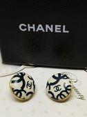 【雪曼國際精品】CHANEL 香奈兒陶瓷圓型雙C LOGO穿式耳環正版品二手商品~8.5成新
