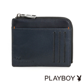 PLAYBOY- 鑰匙零錢夾 拚色城市系列-學院藍