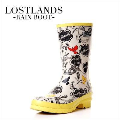 LOSTLANDS 女式手繪中筒雨鞋【藍星居家】