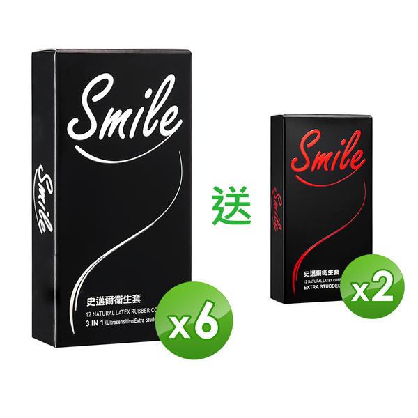 (Yahoo獨家)[買6送2]史邁爾保險套衛生套 超薄 顆粒 3in1 送顆粒(12入/盒,共96入)