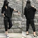 短袖衛衣 大碼夏季新款衛衣休閒個性抽繩顯瘦韓版百搭短袖T恤女上衣潮