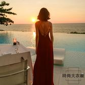 吊帶連身裙性感露背沙灘裙子雪紡海邊度假長裙【時尚大衣櫥】