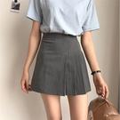 [協貿國際]短裙 學院風高腰修身灰色百褶裙 A字裙1入