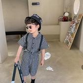 2021夏季新款兒童韓版格子套裝配背帶男童兩件套寶寶洋氣短褲襯衫 幸福第一站