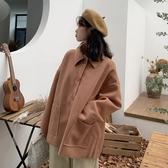 秋冬純色大口袋寬鬆呢子 翻領小個子毛呢外套女 11-14 降價兩天