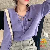 短款綁帶V領套頭毛衣女韓版顯瘦寬鬆長袖薄款針織衫上衣潮