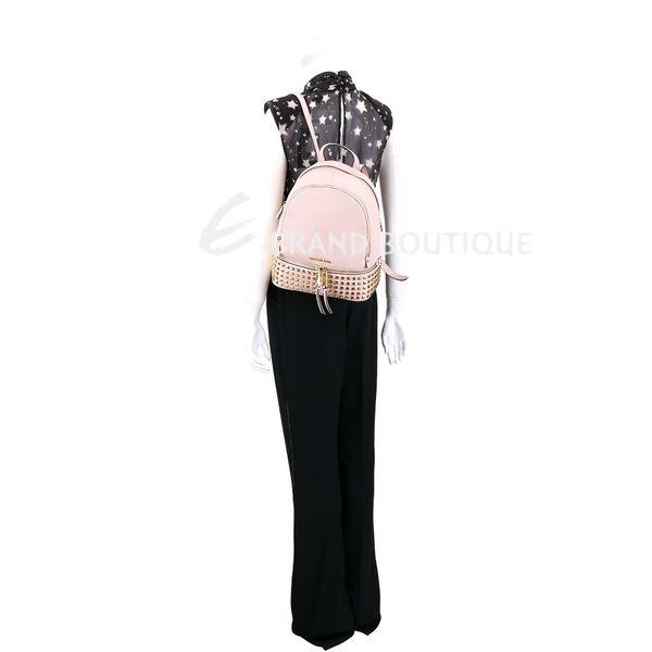 Michael Kors Rhea Zip 小型鉚釘荔紋牛皮手提後背包(淡粉) 1610255-05