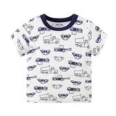 圓領滿版汽車圖案短袖上衣 童裝 短袖上衣 上衣