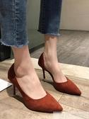 高跟鞋女2019新款春季性感超細跟網紅尖頭百搭韓版時尚少女單鞋潮 韓慕精品