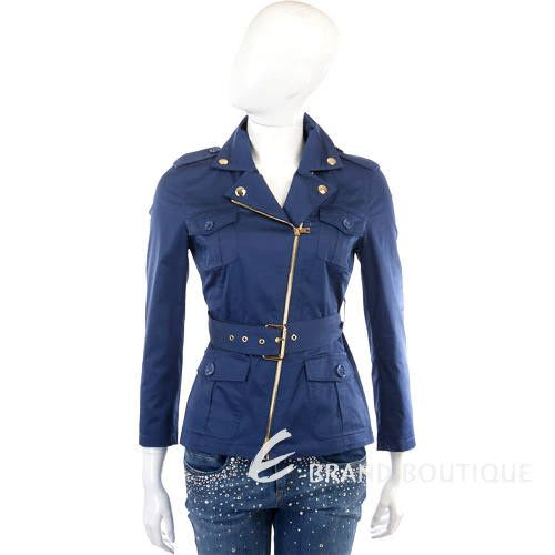 MOSCHINO 深藍色斜拉鍊造型外套(附腰帶) 1210383-23