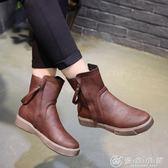 秋冬機車鞋女厚底平底短靴女復古學生馬丁靴女英倫風棉靴 優家小鋪