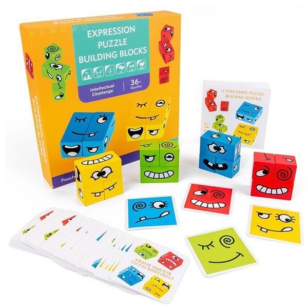 變臉魔方積木 你哭我笑 表情方塊 拼圖 桌遊 積木玩具 幾何圖形 益智玩具 變臉魔術方塊 4158