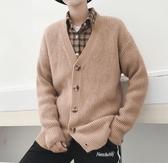 秋冬季純色長袖針織開衫外套男裝 潮流韓版外穿男士毛衣寬鬆帥氣   藍嵐小舖