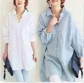 S-XL韓版寬鬆長袖襯衫開衫上衣24150春夏裝新款襯衣寬松大碼長款棉麻質感連衣裙襯衫皇潮天下