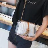 夏天果凍小包包女潮韓版百搭斜背包鏈條側背包透明小方包 麻吉好貨