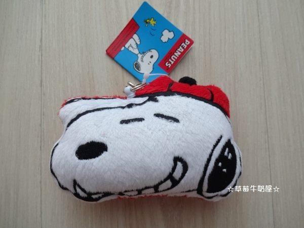 ☆草莓牛奶屋☆日本進口【SNOOPY】絨毛伸縮線車票證件夾