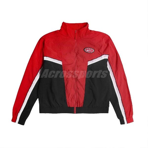 Nike 外套 Throwback Basketball Jacket 紅 黑 男款 籃球 立領 【ACS】 AV9756-657