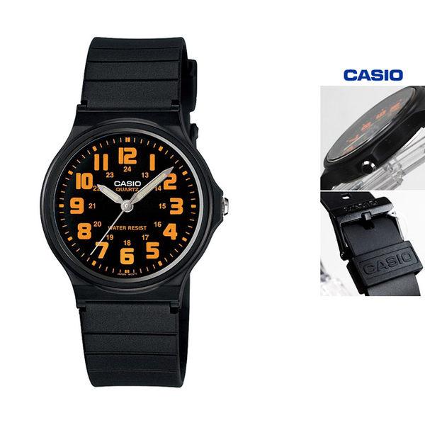 MQ-71-4B 指針錶 黑面 橘色數字時刻 黑色橡膠錶帶 35mm 男錶 女錶 正韓 MQ-71-4BDF CASIO卡西歐