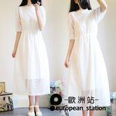 洋裝/白色蕾絲連身裙文藝過膝長裙女「歐洲站」