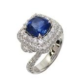 JEWELRY 3.00ct藍寶石鑲1.76ct鑽石白金戒指 【二手名牌BRAND OFF】