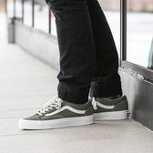 IMPACT Vans old skool Style 36 軍綠 白底 麂皮 運動 帆布 滑板鞋 VN0A3DZ3VTF