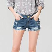★韓美姬★中大尺碼~破洞薄款帥氣牛仔短褲(32~40)