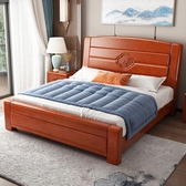 實木床 2019新款實木床1.8米雙人床1.5現代簡約中式儲物床橡木床